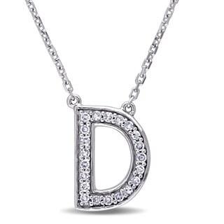 Miadora 14k White Gold 1/10ct TDW Diamond D Initial Necklace (G-H, SI1-SI2)