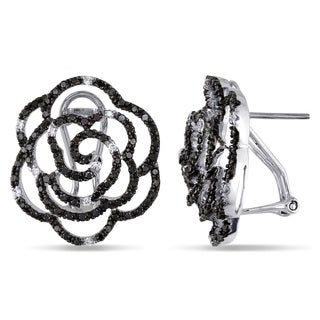 Miadora Signature Collection 14k White Gold 1 1/3ct TDW Black and White Diamond Flower Earrings