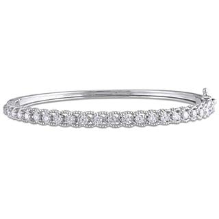 Miadora Signature Collection 14k White Gold 7/8ct TDW Diamond Channel Set Bangle Bracelet (G-H, SI1-SI2)