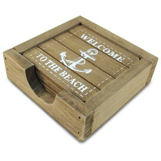 Puzzled Wood 'Welcome to the Beach' Nautical Decor Coasters|https://ak1.ostkcdn.com/images/products/12439384/P19254720.jpg?impolicy=medium