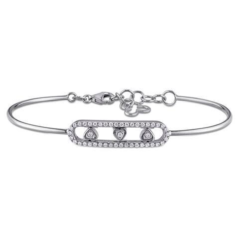 Miadora Signature Collection 18k White Gold 1/4ct TDW Diamond Heart Bar-shaped Bangle Bracelet