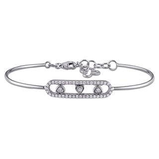 Miadora Signature Collection 18k White Gold 1/4ct TDW Diamond Heart Bar-shaped Bangle Bracelet