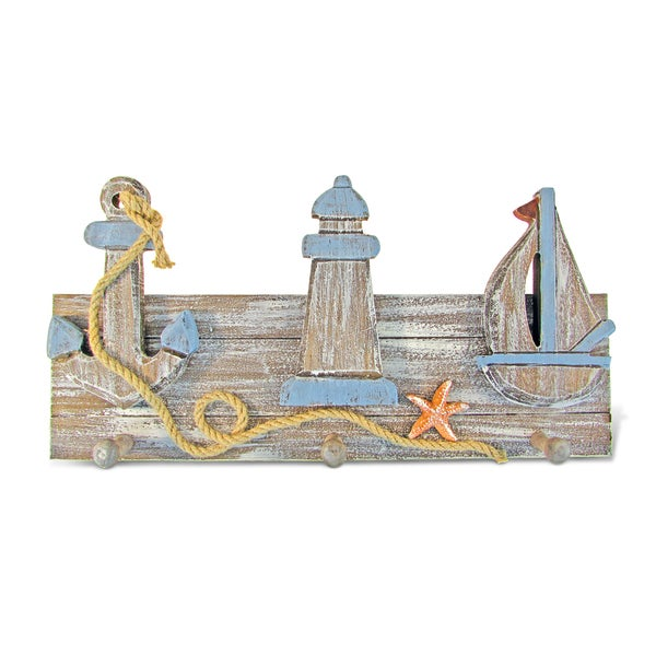 Puzzled Pacific Wood Nautical-themed 3-hook Wall Decor