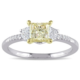 Miadora Signature Collection 14k White Gold 1ct TDW Princess-Cut Yellow and White Diamond 3-Stone Engagement Ring (G-H, SI1-SI2)