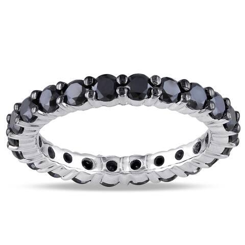 Miadora 14k White Gold 2ct TDW Black Diamond Eternity Ring