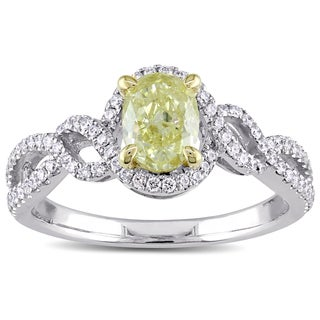 Miadora Signature Collection 14k White Gold 1 1/10ct TDW Oval-Cut Yellow and White Diamond Crossover Engagement Ring (G-H, SI)