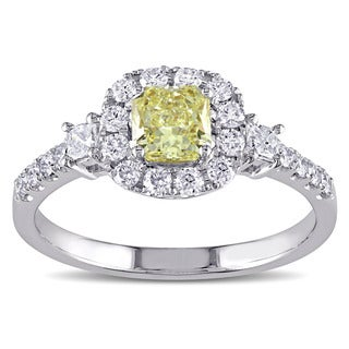 Miadora Signature Collection 18k White Gold 1ct TDW Radiant-Cut Yellow and White Diamond Halo Engagement Ring (F-G, SI1-SI2)