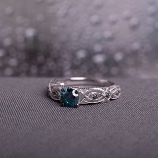 Miadora 10k White Gold 4/5ct TDW Blue Diamond Vintage Filigree Engagement Ring