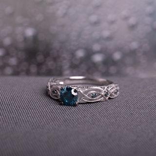 Miadora 10k White Gold 4/5ct TDW Blue Diamond Vintage Filigree Engagement Ring