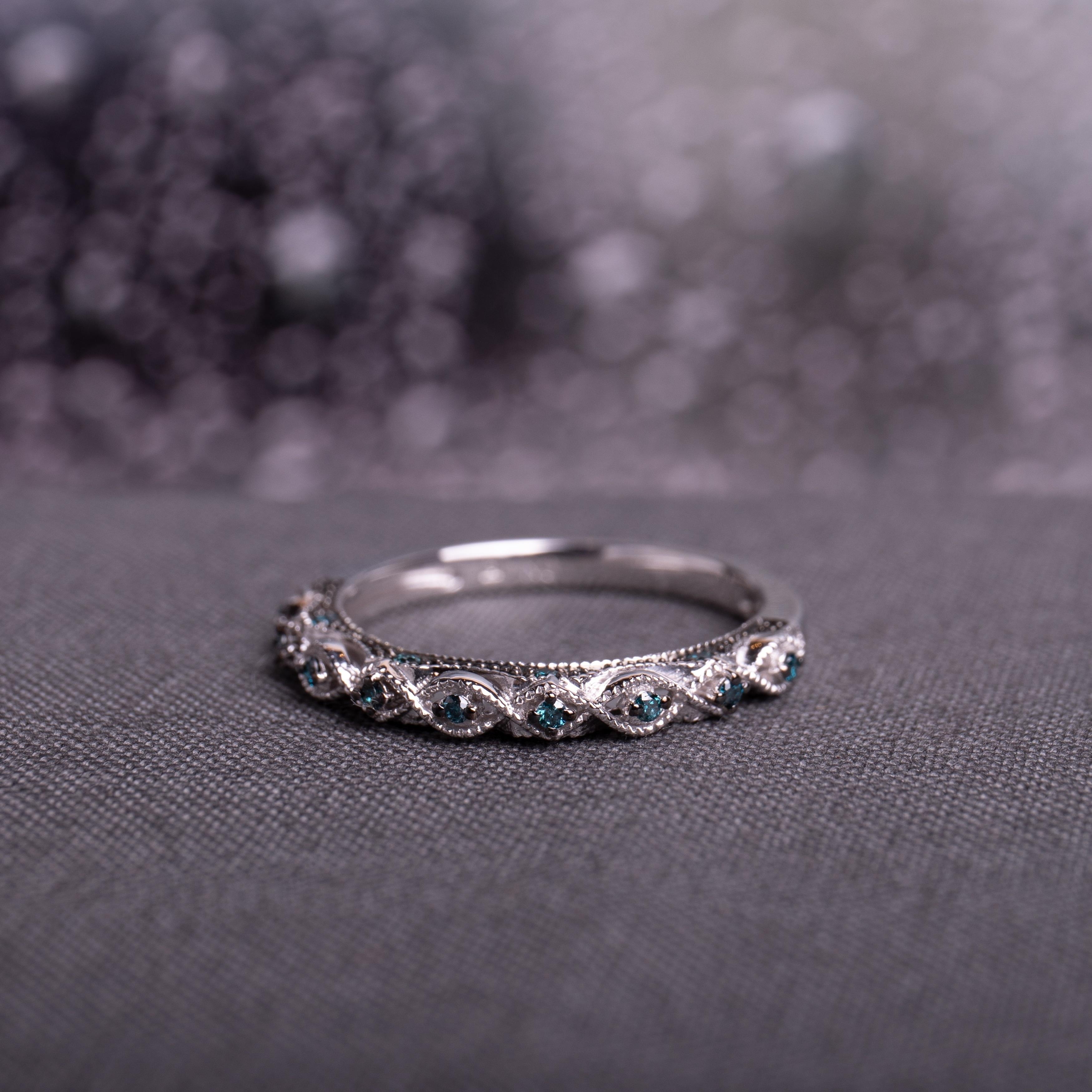 Vintage Diamond Wedding Ring 10K White Gold