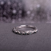 Miadora 10k White Gold 1/6ct TDW Blue Diamond Vintage Filigree Wedding Band