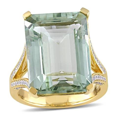 Miadora Signature Collection 14k Yellow Gold Green Amethyst 1/2ct TDW Diamond Split Shank Ring