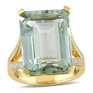 Miadora Signature Collection 14k Yellow Gold Green Amethyst and 1/2ct TDW Diamond Split Shank Cocktail Ring (G-H, SI1-SI2)