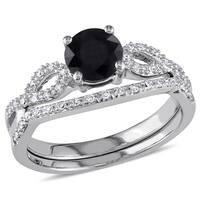Miadora 10k White Gold 1 1/8ct TDW Black and White Diamond Infinity Bridal Set (G-H, I2-I3)