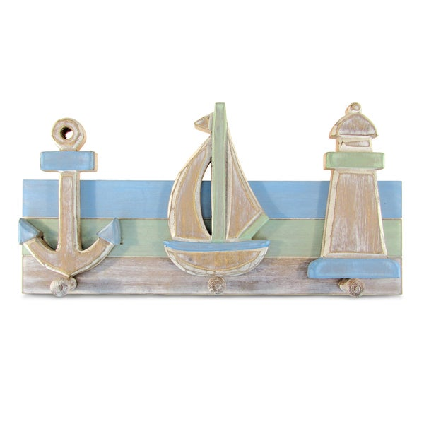 Puzzled Inc. Ocean Breeze Multicolored Plastic Nautical Decor with 3 Hooks