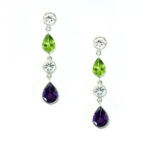 One-of-a-kind Michael Valitutti White Topaz, Peridot and Amethyst Dangling Earrings