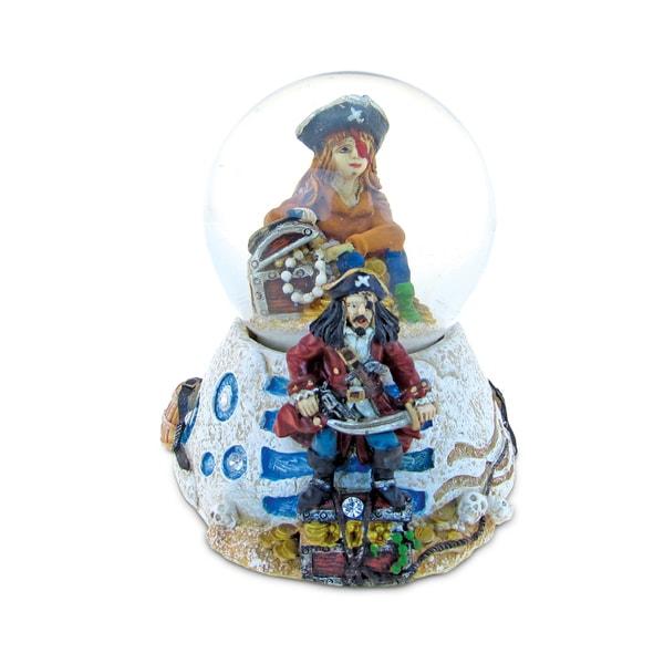 Puzzled Multicolored Plastic/Stone Pirate Stone Snow Globe
