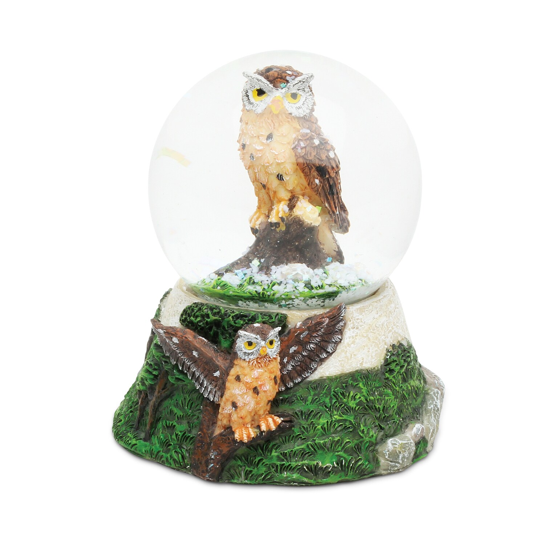 """Puzzled Stone Owl Snow Globe (Size: 3.55""""L x 3.55""""W x 3.7..."""
