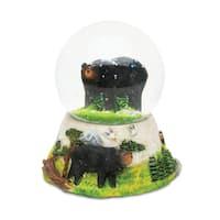 Puzzled Plastic Stone Black Bear Snow Globe