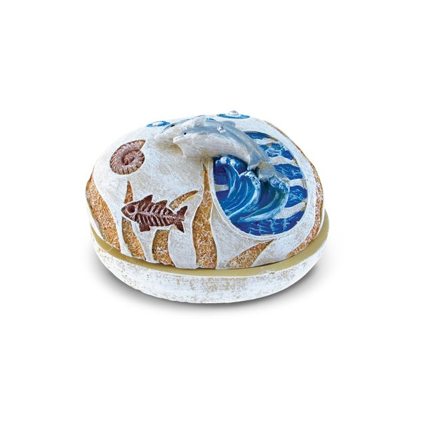 Puzzled Stone Dolphin Jewelry Box