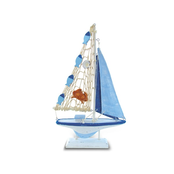 Puzzled Light Blue Striped Boat with Crab Nautical Decor