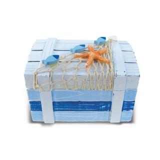 Light Blue Stripes Large Nautical Decor Treasure Box