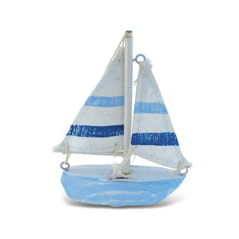 Light Blue Stripes Extra-small Nautical Decor Boat