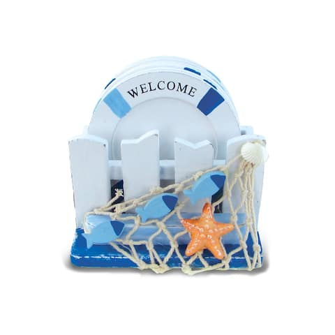 Puzzled inc. Multicolored Plastic Nautical Decor Coasters with Light Blue Stripes