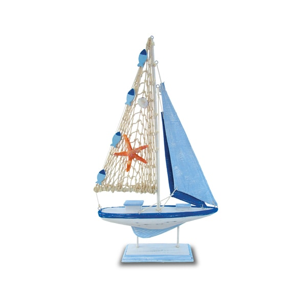 Puzzled Light Blue Stripes Plastic Nautical Sail Boat