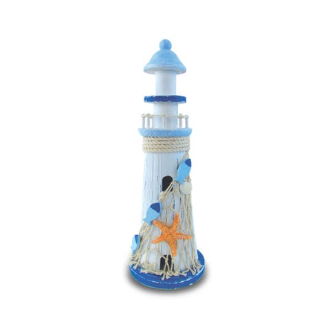 Puzzled Nautical Decor Light Blue Lighthouse with Large Starfish