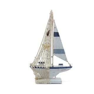 Puzzled Inc Nautical Decor Collection Blue Stripes Plastic Boat|https://ak1.ostkcdn.com/images/products/12439526/P19254896.jpg?impolicy=medium