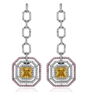 Suzy Levian Sterling Silver Asscher cut Cubic Zirconia Tri-Color Earrings|https://ak1.ostkcdn.com/images/products/12439533/P19255043.jpg?impolicy=medium