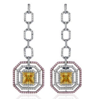 Suzy Levian Sterling Silver Asscher cut Cubic Zirconia Tri-Color Earrings - White