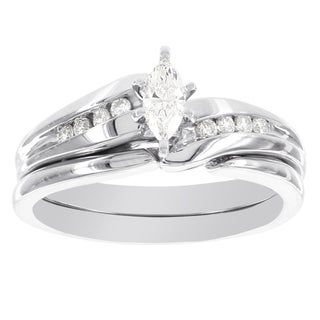 H Star 10k White Gold 1/3ct TDW Diamond Marquis Bridal Set (I-J, I2-I3)