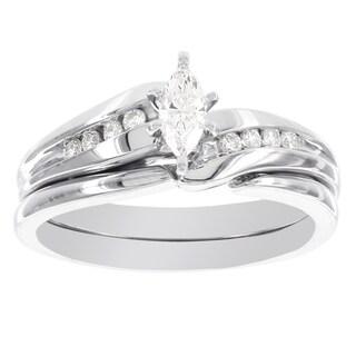 H Star 10k White Gold 1/3ct TDW Diamond Marquis Bridal Set (I-J, I2-I3)