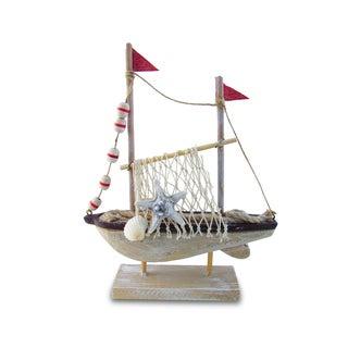 Puzzled Inc. Brown Fishing Boat Multicolored Plastic Nautical Decor