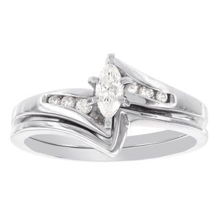 H Star 14k White Gold 1/4ct Marquis-cut Diamond Bridal Set (I-J, I2-I3)