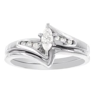 H Star 14k White Gold 1/4ct Marquis-cut Diamond Bridal Set (I-J, I2-I3)