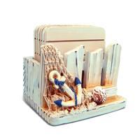 Puzzled Inc. Wood Coaster and Plastic Holder Nautical Decor