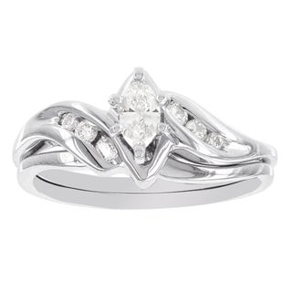 H Star 14k White Gold 1/3ct TDW Diamond Marquis Bridal Set (I-J, I2-I3)