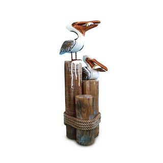 Puzzled Nautical Decor Pelican Couple Figurine