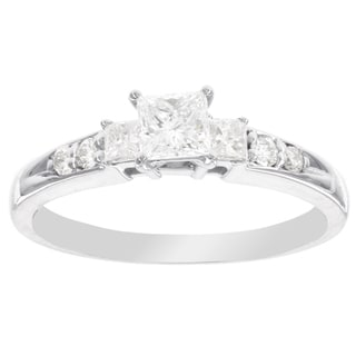 H Star 14k White Gold 5/8ct Princess-cut Diamond Engagement Ring (I-J, I2-I3)
