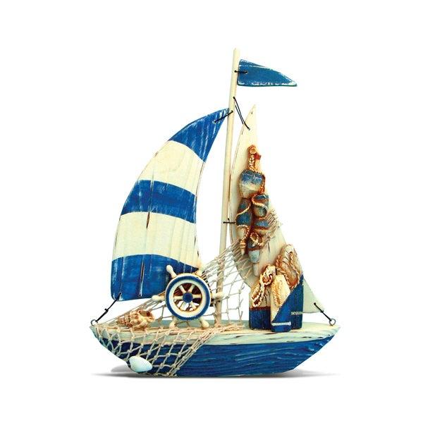 Puzzled Inc. Lovely Sailboat Multicolored Plastic Nautical Decor