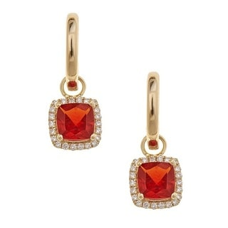 Anika and August 14K Yellow Gold Fire Opal and Diamond Earrings