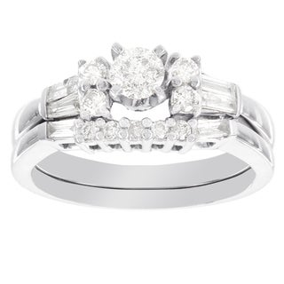 H Star 14k White Gold 7/8ct Diamond Bridal Set (I-J, I2-I3)