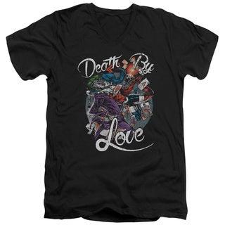 Batman/Death By Love Short Sleeve Adult T-Shirt V-Neck 30/1 in Black