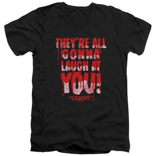 Carrie/Laugh At You Short Sleeve Adult T-Shirt V-Neck 30/1 in Black