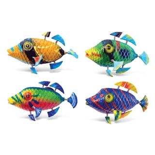 Puzzled Ocean Life Collection Multicolor Plastic Triggerfish Bobble Magnets (Pack of 4)