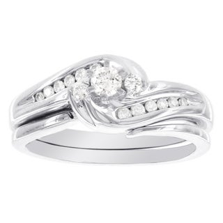 H Star 14k White Gold 1/3ct TDW Diamond Swirl Bridal Set (I-J, I2-I3)