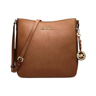 Michael Kors Large Jet Set Travel Luggage Brown Leather Crossbody Handbag